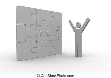 figure humaine, élévation, suivant, puzzle, résolu, bras, blanc, puzzle