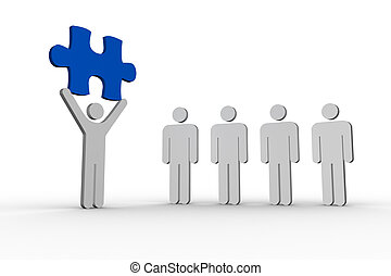 figure humaine, ligne, suivant, fond, tenue, bleu, morceau, formes, blanc, puzzle