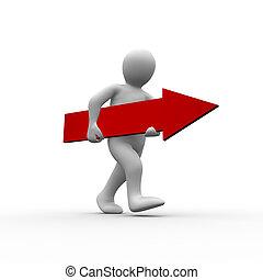 figure humaine, marche, mains, flèche, blanc rouge