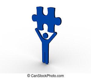 figure humaine, morceau, bleu, brandir, puzzle