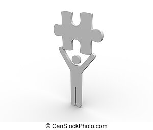 figure humaine, p, brandir, puzzle
