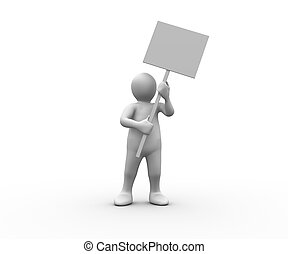 figure humaine, panneau, blanc, tenue, vide