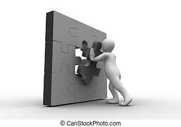 figure humaine, résoudre, p, blanc, puzzle