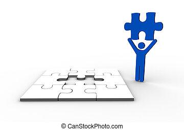 figure humaine, tenue, bleu, morceau, puzzle