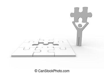 figure humaine, tenue, morceau, blanc, puzzle