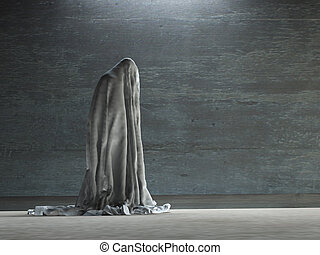 Figure hunched over under cloth