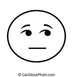 figure, icône, classique, style, emoji, douteux, ligne