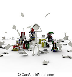 Figure in chaos of documents - 3d figure standing in chaos...