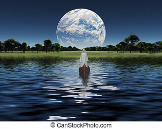 Figure in white robe in boat with blue Planet on the horizon