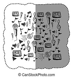 figure, instruments, notes, musique, fond, icône