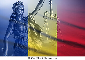 figure, justice, drapeau national, roumaine
