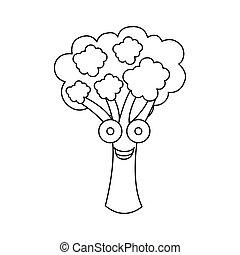 figure kawaii happy broccoli icon