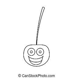 figure kawaii happy cherry icon
