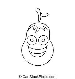 figure kawaii happy eggplant icon