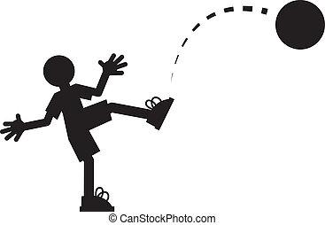 Figure Kicking Ball  - Silhouette figure kicking a ball