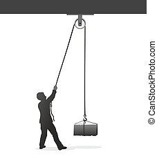figure lifting a heavy load with a pulley