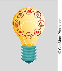 Figure light bulb with the symbols of science, learning, design element.