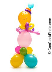 Figure made from colourful balloons isolated on white