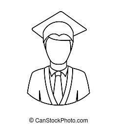 figure man graduation icon