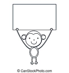 figure monkey with a wood in the hand icon