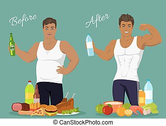 Figure of a Man Before and After