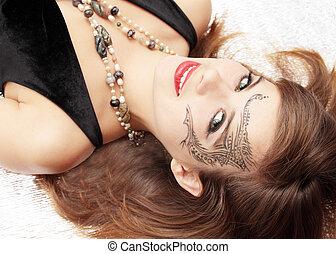 bodyart - Figure of bodyart on face of the woman