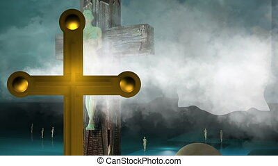 Figure of Crucifixion animation with clouds and balls