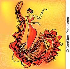 figure of flamenco dancer and music