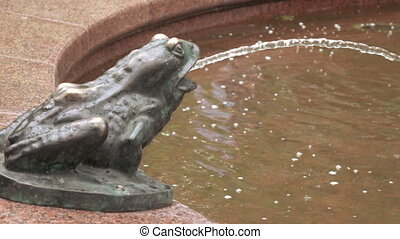 Figure of frog in fountain