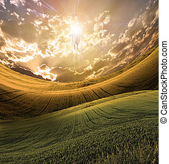 Figure of Light Appears in Sky over Beautiful Landscape