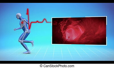 Figure of man running with videos of circulation appearing