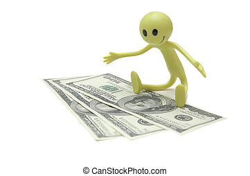 Figure of Smiley with dollar bills