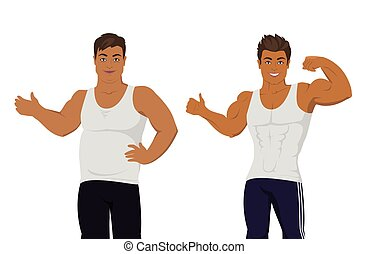 Figure of the Man Before and After Diet.