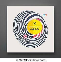 figure., optique, géométrique, résumé, noir, rayé, illustration, template., couverture, vecteur, conception, effect., déformation, art., 3d, design., blanc