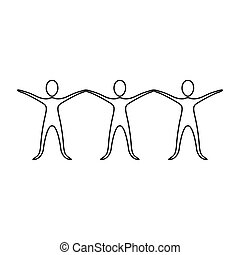 figure people with hands up icon