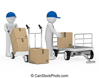 figure pick up a package from trolley