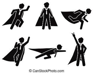 figure, pictogramme, illustration, vecteur, crosse, homme affaires, super