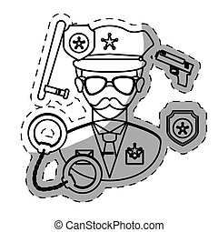 figure policeman with his tools icon image, vctor ...