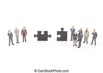 figure, puzzle, puzzle, haut, morceaux, tenue