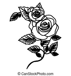 figure roses with squere petals and leaves icon, vector ...