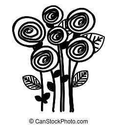 figure round roses with leaves icon