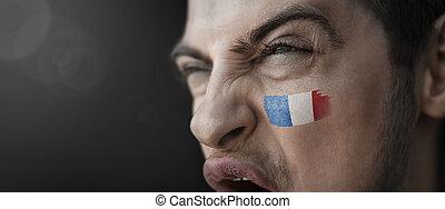 figure, sien, image, national, crier, homme, drapeau, france