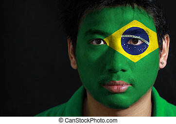 figure, sien, peint, drapeau, portrait, brésil, noir, arrière-plan., homme