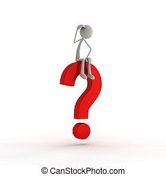 Figure sitting on questionmark