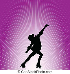 Figure skater on purple background