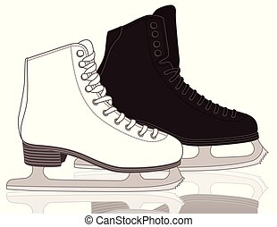 figure skates, men's and women's with white background