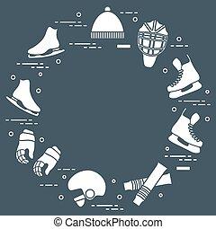Figure skating and hockey elements. - Skates, gloves, hat,...
