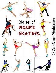 Figure skating colored silhouettes