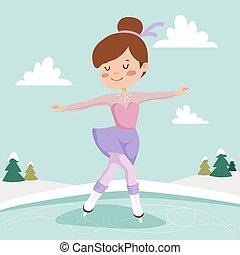 Figure skating girl training on the ice.