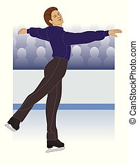 figure skating, male in front of crowd - figure skating,...